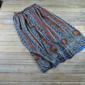 Vintage 100% SILK Boho Festival Maxi Skirt